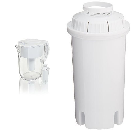 Brita 10 Cup Everyday Water Pitcher with 1 Filter and Bonus 3 Pack Sapphire Water Filters, BPA Free, White