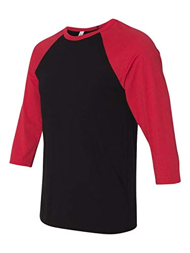 - Bella + Canvas Unisex Jersey 3/4 Sleeve Baseball Tee, Black/Red, Medium