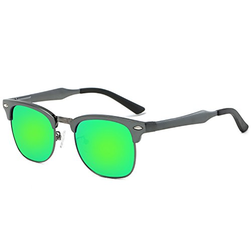 Galulas Classic Retro Square Semi-rimless Wayfarer Women and Men Sunglasses Al-Mg Polarized Eyewear Frames Mirrored Reflective REVO Lenses Driving Shades (Gun Grey Frame Green Lens, - Made Who Sunglasses