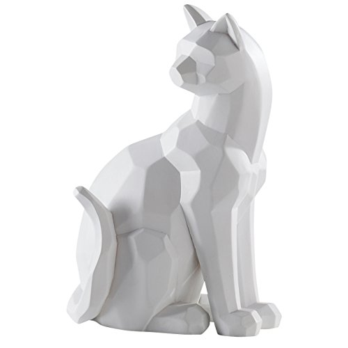 Torre & Tagus 902286A Carved Angle Sitting CAT Decor-White ()