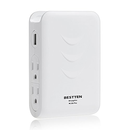 BESTTEN Side Wall Tap Outlet Adapter Surge Protector with 2 USB Charging Ports (Sharing 3.1A) & 4 AC Outlets, Top Cell Phone Dock Design, Portable for Travel or Home/Office Use, ETL Certified, White