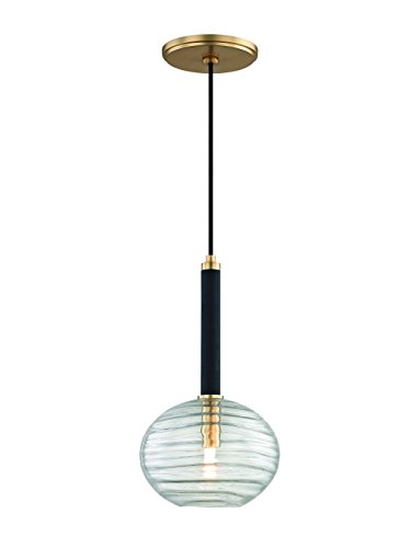 Hudson Valley Lighting Hudson Valley 2410-AGB Contemporary Modern One Light LED Pendant from Breton Collection in Brass-Antiquefinish, 8, Polished Nickel Finish
