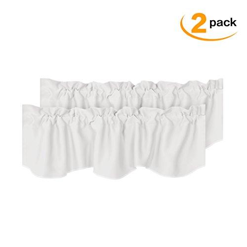 H.VERSAILTEX White Blackout Valances Room Darkening Window Valances for Living Room Rod Pocket Curtain Valances for Kitchen 2 Pack, 52 inch x 18 inch (And Curtains Kitchen Valances)
