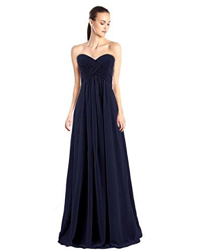 (Kiss Dress Women's Bridesmaid Dresses Long Sweetheart Prom Gowns Chiffon Strapless (XS, Navy Blue))