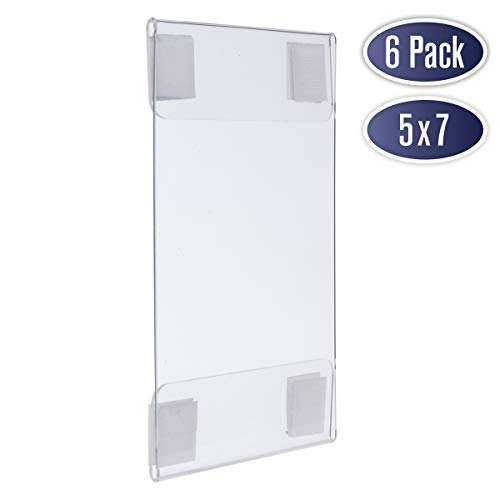 Wall Mount Acrylic Sign Holder - 5 x 7 Inches Portrait or 7 x 5 Inches Landscape Photo Frames with Hook and Loop Adhesive. Perfect for Signs, Menus, Documents, Pictures, Flyers, and More (6 Pack)