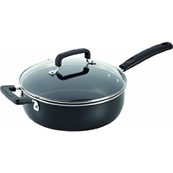 T-fal C11933 Signature Nonstick Expert Easy Clean Interior Thermo-Spot Heat Indicator Dishwasher Safe Oven Safe 10-Inch Jumbo Cooker with Glass Lid Cover Cookware, 4.2-Quart, Black