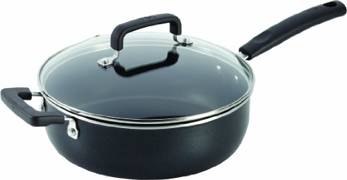 T-fal C53133 Signature Nonstick Expert Easy Clean Interior Thermo-Spot Heat Indicator Dishwasher Safe Oven Safe 10-Inch Jumbo Cooker with Glass Lid Cover Cookware, 4.2-Quart, Black (Cooker Jumbo)