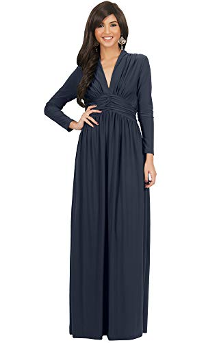 KOH KOH Plus Size Womens Long Sleeve Sleeves Vintage V-Neck Autumn Fall Winter Formal Evening Casual Flowy Maternity Abaya Muslim Islamic Cute Gown Gowns Maxi Dresses, Slate Gray Grey XL 14-16