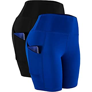 Cadmus Workout Shorts with Pockets High Waist Tummy Control for Yoga,10,Grey,Navy Blue,Large