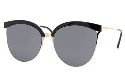 reflétées Noires De Soleil Lunettes Ca Dorés Larges Femmes UV de Dames Yeux 400 Style Cheapass 003 Chat nzv4WqzX