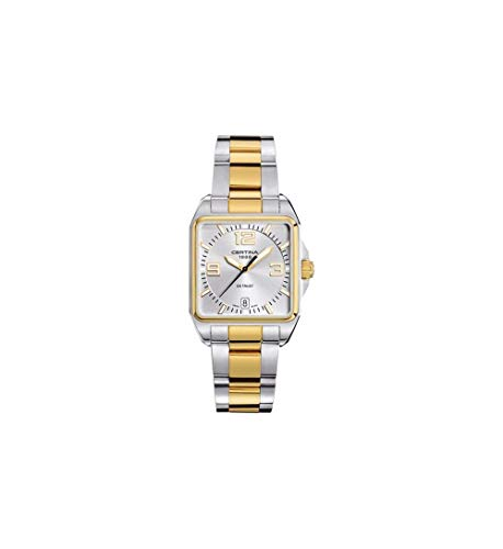 Certina DS Trust Mens 34MM Silver Face with Date Square Luminous Watch - Swiss Made Analog Quartz Luxury Stainless Steel Yellow Gold Two Tone Watch For Men C019.510.22.037.00