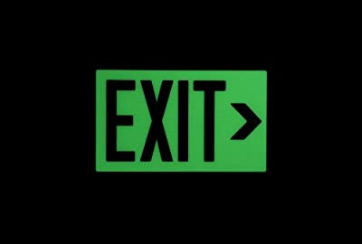"""Safe Glow Photoluminescent Exit Sign, """"EXIT"""" with Right Arrow Symbol, 14-5/8"""" Length x 9-1/2"""" Width x 1/4 """" Height, Wall Mount (Pack of 1)"""
