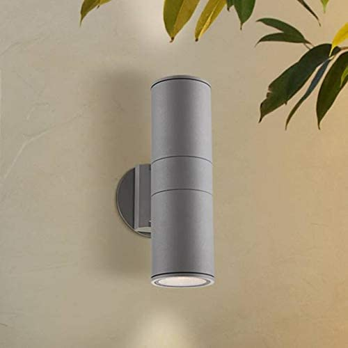 Ellis Modern Outdoor Sconce Light Fixture Silver Cylindrical 11 3 4 Tempered Glass Lens Up Down for Exterior House Porch Patio Deck – Possini Euro Design