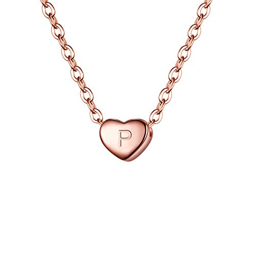 BriLove 925 Sterling Silver Tiny Initial Heart Necklace for Women Pendant Choker Necklace for Girls Letter P 14K Rose-Gold-Toned (Love Letter To Ask A Girl Out)