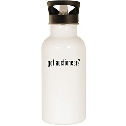 got auctioneer? - Stainless Steel 20oz Road Ready Water Bottle, White