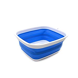 SAMMART 7,7L Collapsible Tub - Foldable Dish Tub - Portable Washing Basin - Space Saving Plastic Washtub (Blau, klein)