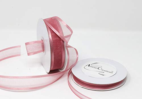 Dusty Rose Organza Ribbon with Satin Edge-25 Yards X 7/8 Inches