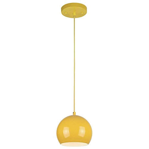 Westinghouse Lighting 6101900 One-Light Indoor Mini, Yellow Finish with Metal Shade Pendant,