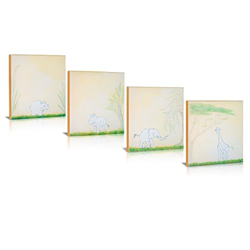 Safari Friends, Lithograph Canvas Art, Rhino, Hippo, Giraffe, Elephant, on Green Grass in Sand Color Frame for Baby Nursery, Modern Artsy Kids Rooms, Home Décor, Wall Art, Set of 4 (Safari Grass)