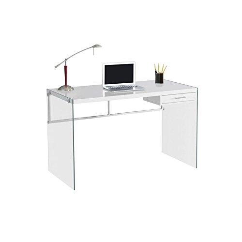 Monarch Computer Desk, Glossy White, 48
