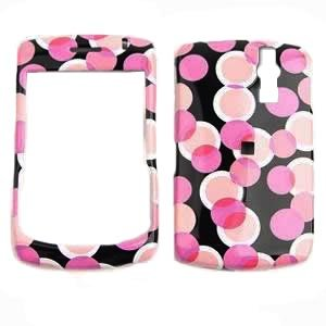Blackberry 8300 Curve Faceplate Snap-on Protective Cover - Pink Dots on Black