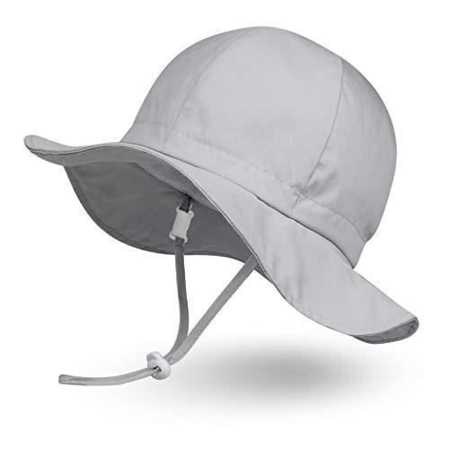 Ami&Li tots Adjustable Sunscreen Bucket Sun Protection Summer Hat for Baby Girl Boy Infant Kid Toddler Child UPF 50 Matte Grey