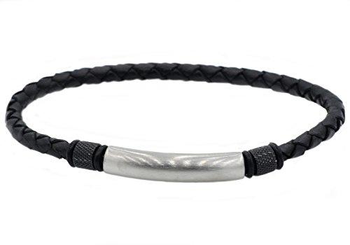 Blackjack Jewelry Men's Genuine Black Leather Stainless Steel Engravable ID Slim Bracelet