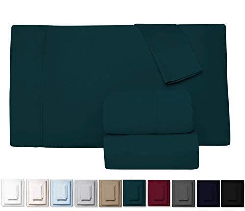 Kemberly Home Collection 600 Thread Count 100% Long Staple Egyptian Pure Cotton - Sateen Weave Premium Bed Sheets, 4 - Piece Teal King- Size Luxury Sheet Set, Fits mattresses Upto 18
