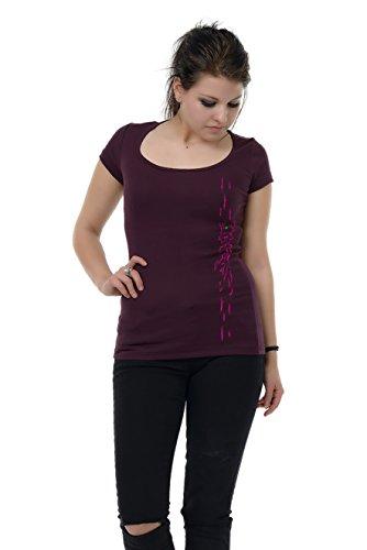 top Camiseta 3elfen de corta bosque ciruela con mujer redondo cuello manga de rosa diosa del con OqRBxwrO