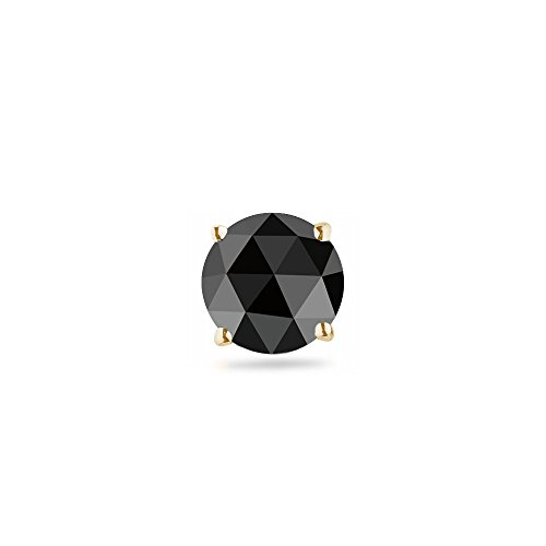 (3/8 (0.35-0.45) Cts of 4.40-5.40 mm Round Rose Cut AA Black Diamond Mens Stud Earring in 14K Yellow Gold )