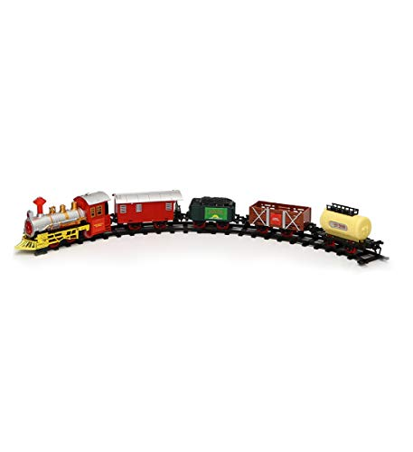 (Mozlly Classic Express Holiday Train Set - High Speed, Real Sounds, Lights - Battery Operated Engine, Tracks, Carriages Cargo - Under The Tree Decor 16 Pc Playset Kids, Adults - 53