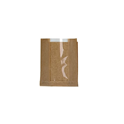 PackNWood 210SVIS2818 Brown Kraft Bag with Window - 11 x 7.1 x 2.8'' - 1000 per case