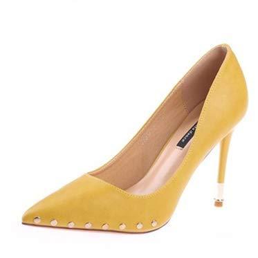 HOESCZS Candy Candy Candy Farbe Damenschuhe 2019 Frühjahr Neue Spitze Stiletto Heels einfache Nieten flachen Mund einzelne Schuhe gelb 1568df
