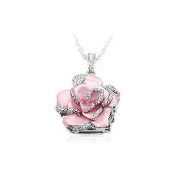 Amazon light pink crystal rose necklace style 8gb usb flash light pink crystal rose necklace style 8gb usb flash drive audiocablefo