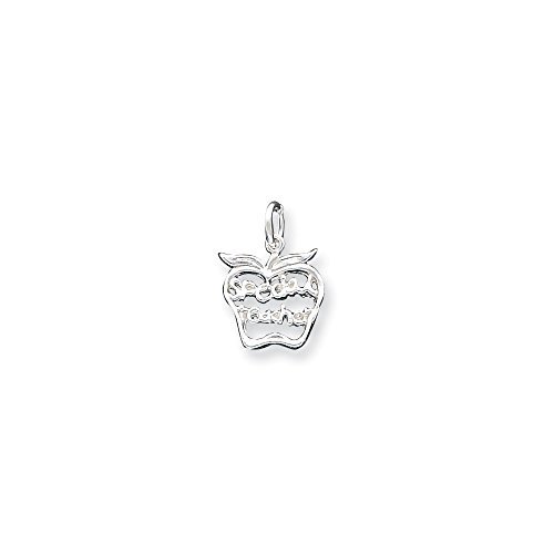 Special Teacher Apple Charm (Sterling Silver Polished Special Teacher Apple Charm)