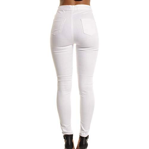 Moda A Alla Alta Matita Strappati Jeans Skinny M Vintage Denim Per Pantaloni Donna Buco Sottili 2xl Vita Bianca dHBxBX4