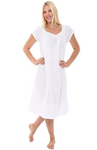 Alexander Del Rossa Womens Charlotte Cotton Nightgown, Short Short Sleeve Victorian Sleepwear, XX-Large White (Cotton Lawn Short Sleeve Shirts)