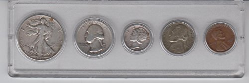 (1945 Birth Year Coin Set (5) Coins- Silver Half Dollar,Silver Quarter, Silver Dime, Nickel, and Penny, all Dated 1945 and Encsed in a Plastic Display Case. Very Good)