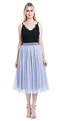 Minyue Women's Elastic Waist Tulle Skirt Princess Dress 3-Layer Mesh Tulle Skirt with Pom Pom Puff Ball