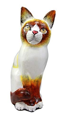 Ky & Co YK Balinese Wood Handicrafts Adorable White Feline Cat Purr Pet Figurine 8