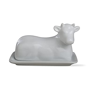 Tag 204968 Cow Butter Dish, 4.75  Height by 7  Long, White