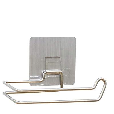 Genenic Stainless Steel Toilet Paper Holder 3M Self Adhesive Paper Towel Roll Holder Wall Mount Tissue Roll Dispenser Bathroom & Kitchen