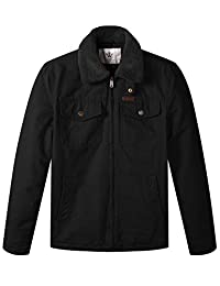 WenVen Men's Warm Quilted Lined Full Zip Jacket with Mulit Pockets