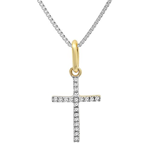 Dazzlingrock Collection 0.06 Carat (ctw) 14K Round Diamond Ladies Cross Pendant (Silver Chain Included), Yellow Gold