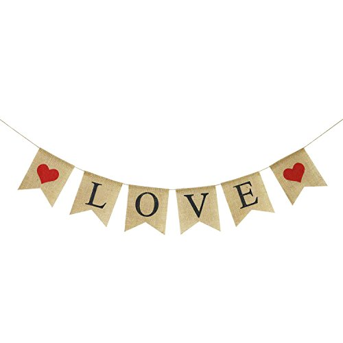 LOVE Burlap Banner | Valentines Day Decorations | Valentines Garland | Valentine Photo Props | Engagement Banner Decorations | Wedding Banner Decorations | Anniversary Banner Decorations -