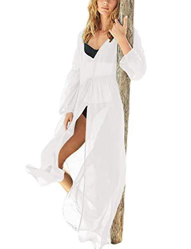 Button down Cover up Women Kimomo Wrap Beach dress robe see through chiffon lantern sleeve white (one size, LF-018)