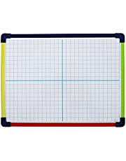 Dry Erase Board, Magnetic Whiteboard 2-Sided 9 x 12 Inches with Colored Frame, Grid Front Blank Back