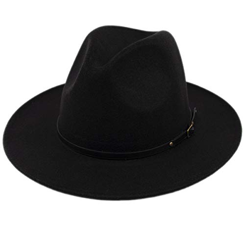 Lanzom Women Lady Retro Wide Brim Floppy Panama Hat Belt Buckle Wool Fedora Hat (Black, One Size)