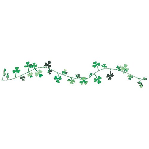 Amscan Lucky Irish Saint Patrick's Day Shamrocks Wire Garland Party Decoration, 12', Green