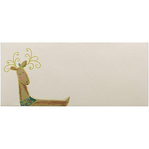"JAM Paper #10 Christmas Envelopes - 4 1/8"" x 9 1/2"" - Reindeer Design - 25/pack"